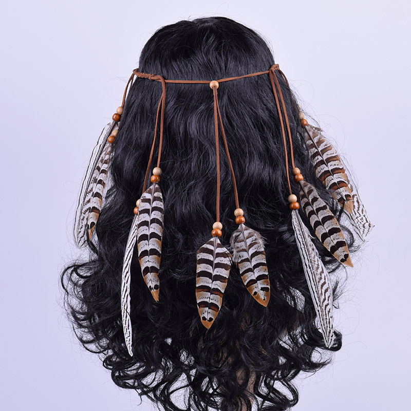 CXADDITIONS Adjustable Feather Pieces Cord Indian Style Flannelette Rope Wooden Bead Women Hand Made Headband Hair Headpiece