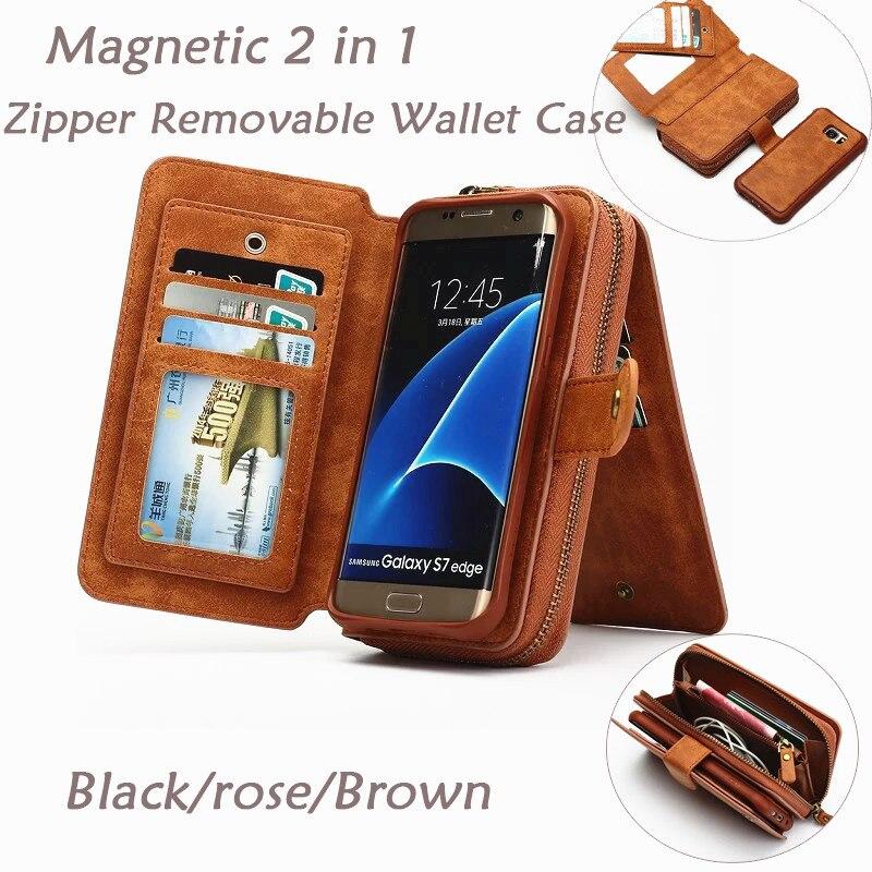 bilder für Multifunktions Brieftasche Ledertasche Für Samsung S4 S5 S6 S7 RAND S8 PLUS NOTE5 HINWEIS 4 Reißverschluss Geldbörse Dame Handtasche Telefon fällen