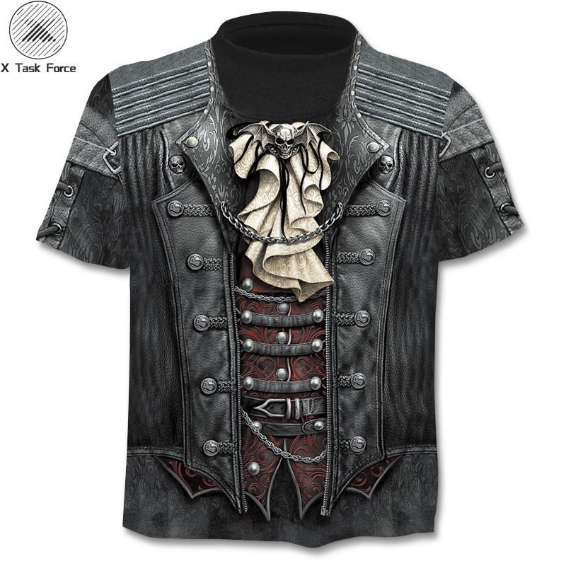 Summer New 3d Skull T Shirt Men Short Sleeve Shirt Funny T Shirts Rock Japan Punk Anime Gothic Rock 3dT-shirt Mens Clothing 6XL(China)