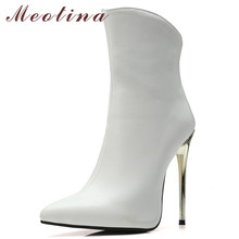 Meotina Women Boots Autumn Ankle PU Leather Stiletto Heels Short Zipper Super High Heel Shoes Ladies Winter Size 46