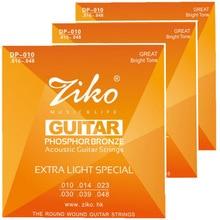 3sets lot 010 048 ZIKO Acoustic guitar strings musical instruments Accessories PHOSPHOR BRONZE Strings guitar parts