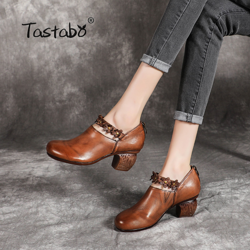Tastabo 100% Genuine Leather Women's shoes Appliques high heel design Simple casual style Brown black S19658 Handmade shoes