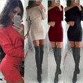 S-xl de color caqui winter dress women casual batwing manga túnica partido vestidos sexy lady mini más el tamaño de la raya vertical neck dress vestidos 15343