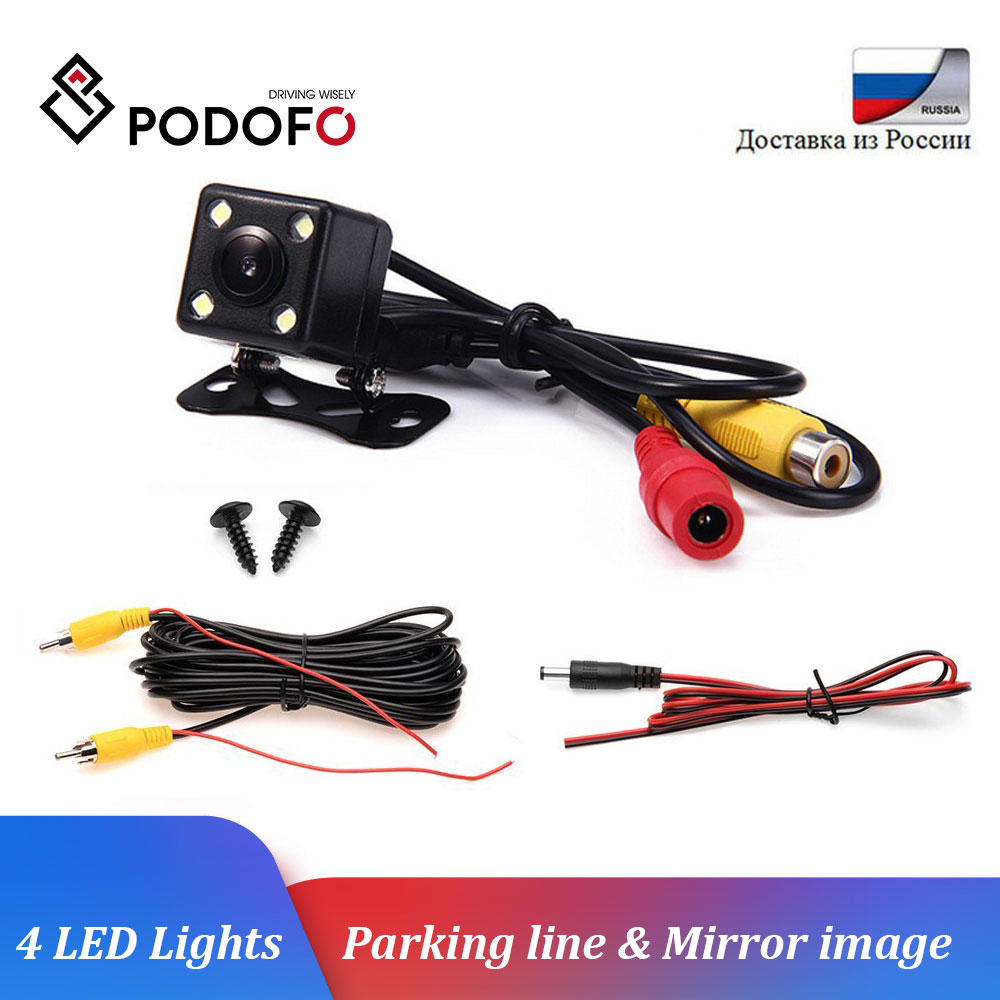 Podofo Universal 4 LED Night Vision Car Rear View Camera Backup Parking Reverse Camera Waterproof 170 Wide Angle HD Color Image