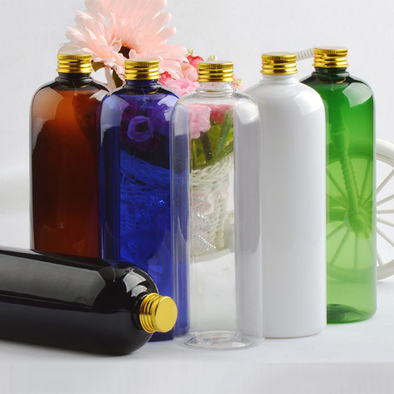 500ml Large gold aluminum Empty Transparent Portable Plastic Bottle