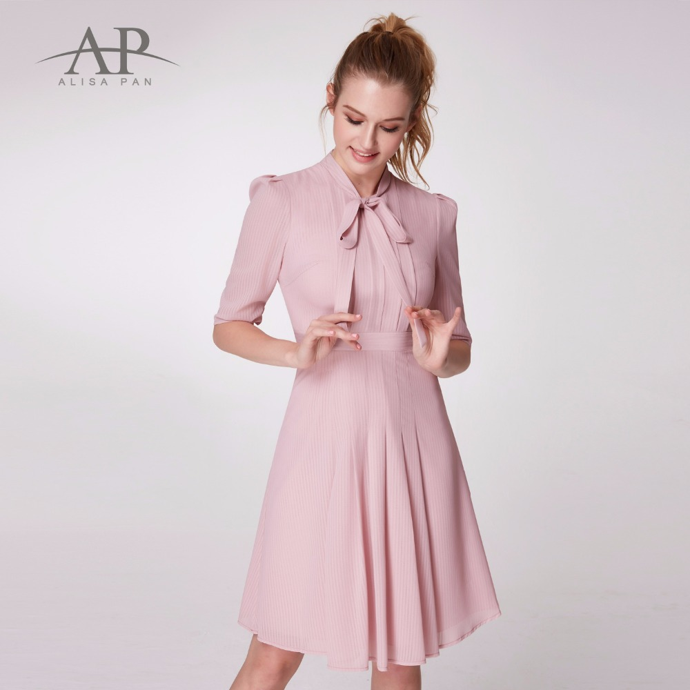 Autumn 2018 Pink Dress Women Vintage Casual Dress A Line Elegant Half Sleeve Pleated Bow Loose Party Regular Slim Dress AS05966