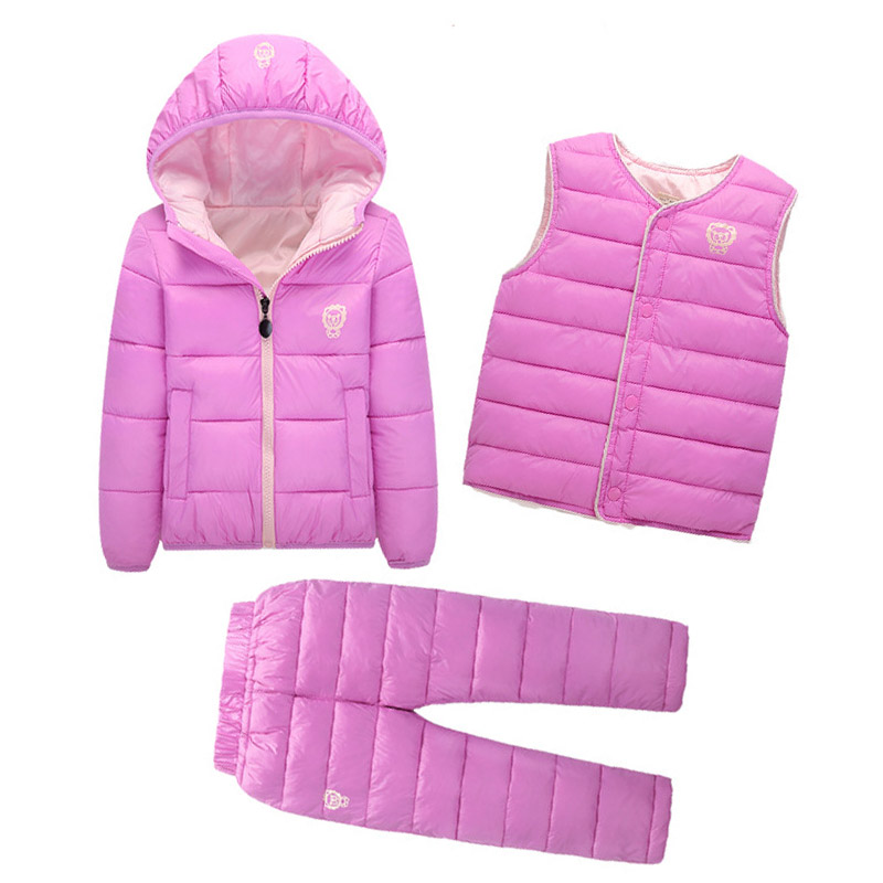 Clothing Sets Winter Snow Wear Boys Girls Clothing Sets Fashion Kids Clothes 3Pcs Down Jacket + Vest+Trousers Boys Suit manji baby boys clothing sets 0 3y autumn 2018 new fashion cotton turn down collar plaid 18053 kids clothes boys clothing suit
