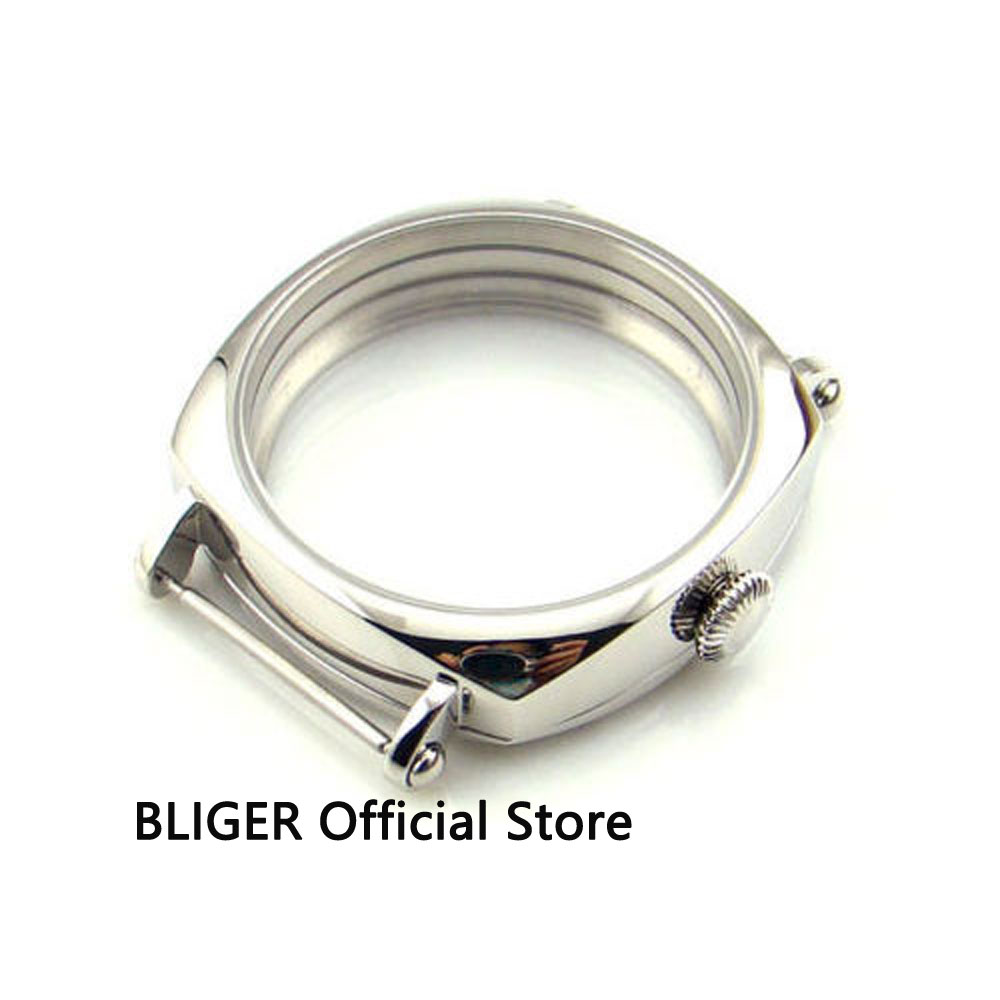 BLIGER 44MM 316L Stainless Steel Watch Case Fit for ETA 6497 6498 ST3600 Hand Winding Movement