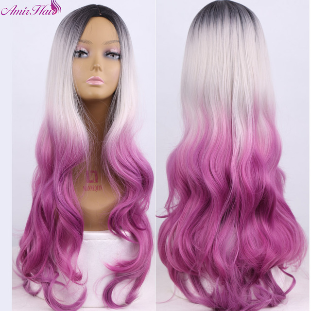 Black to Grey Purple  Ombre Synthetic Wigs For Black Women ombre body wave Heat Resistant Freetress Hair Synthetic Hair Wig Sale