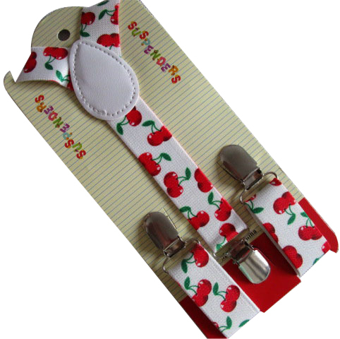 Free Shipping  New Fashion Cute Children Kids Clip -on Y- Back White Black Cherry Printed Suspenders Braces For Girls