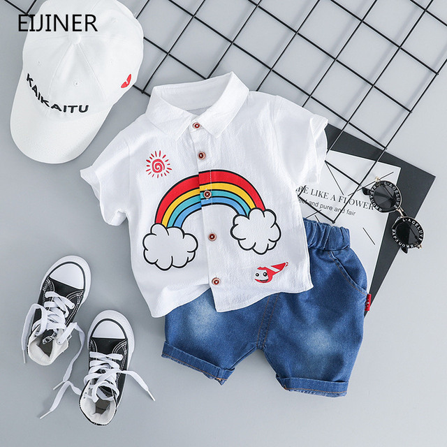 cb4ab7b5d Rainbow Baby Boys Clothing Set Summer 2019 New Fashion Cotton Children Boys  Clothes Sets Shirts+Jeans Kids Boys Clothing