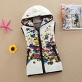 Genuine Ladies Vest Jacket 2016 Mulheres de Inverno Coreano Colete de Algodão Impressão Fino Curto Para Baixo casaco de algodão Com Capuz Colete mulheres