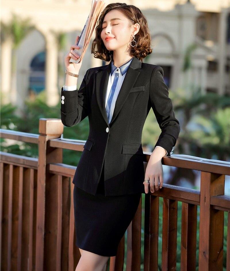 Blanc Automne Printemps 2019 Professionnel Blazers Vestes Jupe D'affaires Formelle White Mesdames Et Uniforme Femmes Avec Costumes black Styles PpqWU7BxwZ