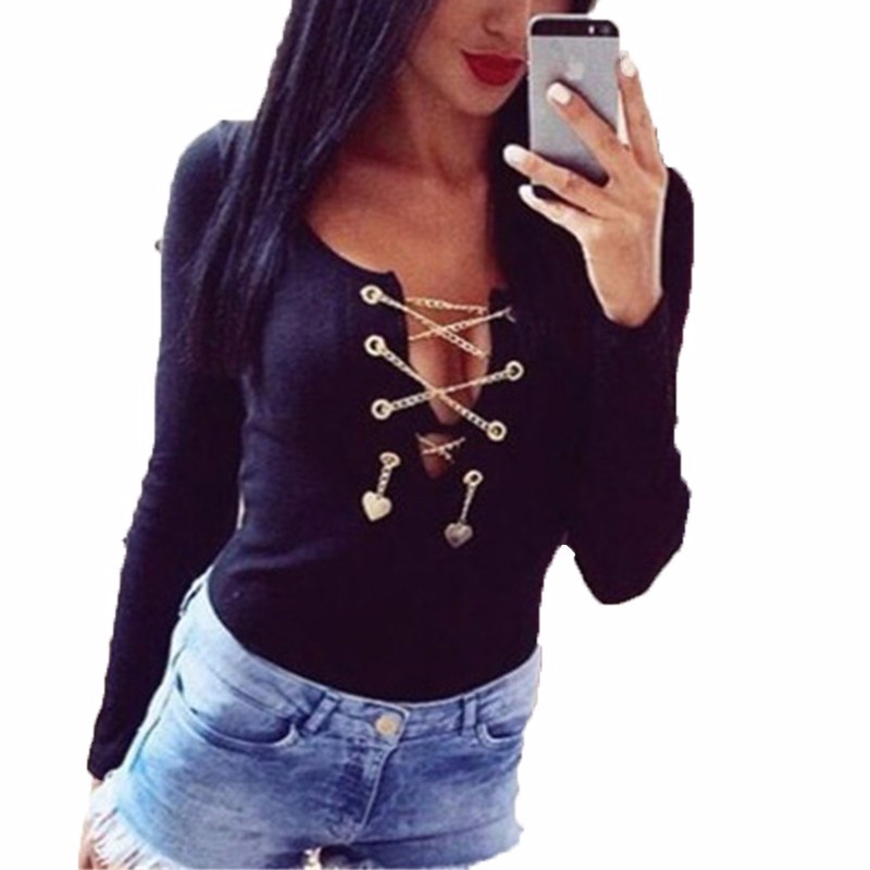 Sexy 2018 Women Long Sleeve Sequined Rompers Overalls Slim Fit Lace Up Hollow Out Rompers Strech Beachwear Bodysuits 3 Colors