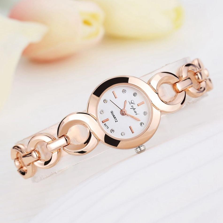 Lvpai Brand Fashion Bracelet Watch Women Alloy Luxury Watch Quartz Wristwatch Classic Gold Ladies Casual Business Watch