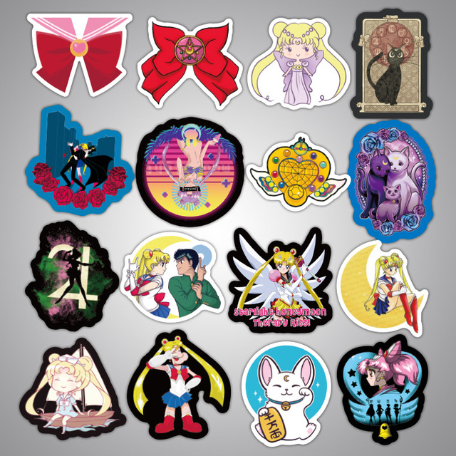 50PCS Japanese Classics Anime Sailor Moon Sticker For Laptop Skateboard Waterproof Stationery Sticker Scrapbook Craft Decor F3