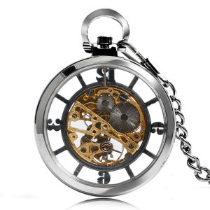 Image 2 - New Arrival Silver Open Face Dial Skeleton Pocket Watch Mechanical Hand Wind Fob Clock  Necklace Accessory Relogio De Bolso
