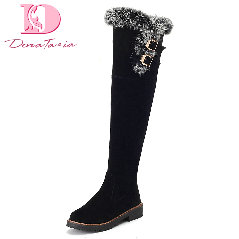 Doratasia Large Size 34-43 Popular Add Fur Warm Winter Boots Woman Shoes Chunky Heels Shoes Woman Knee High women snow Boots bonjomarisa women riding style motorcycle boots chunky heel platform shoes woman winter add fur knee high snow boots