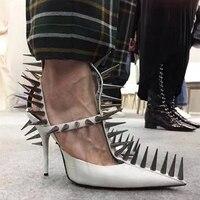 Роскошные стильные заклепки украшенные женские туфли лодочки сексуальные высокие шпильки острый носок кожаные туфли Свадебная вечеринка