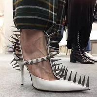 Luxury Stylish Rivets Embellished Woman Pumps Sexy High Thin Heels Pointed Toe Leather Shoes Wedding Party Punk Shoes Stiletto