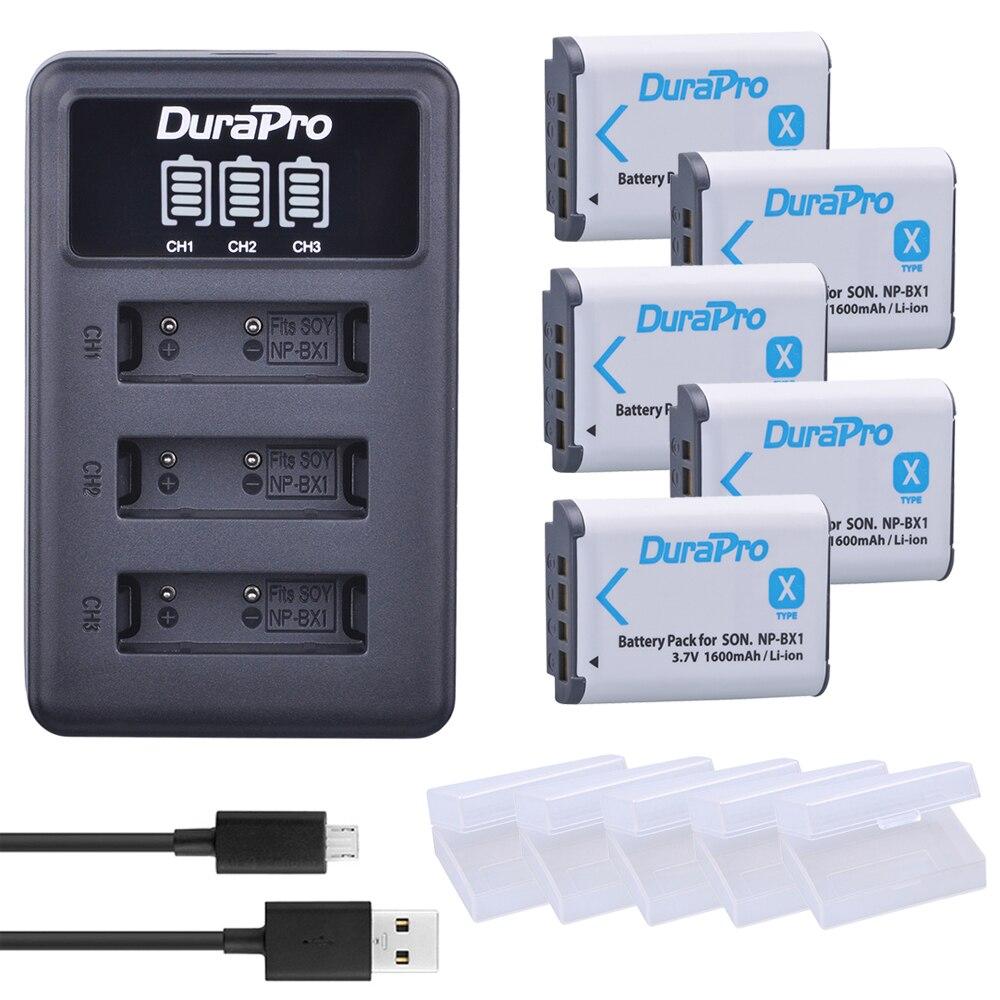 5x NPBX1 NP-BX1 BX1 batería + 3 canal cargador para Sony DSC-RX100/WX500 IV RX10 II HX300 WX300 HDR-AS15 CX240E MV1 AS30V AS300
