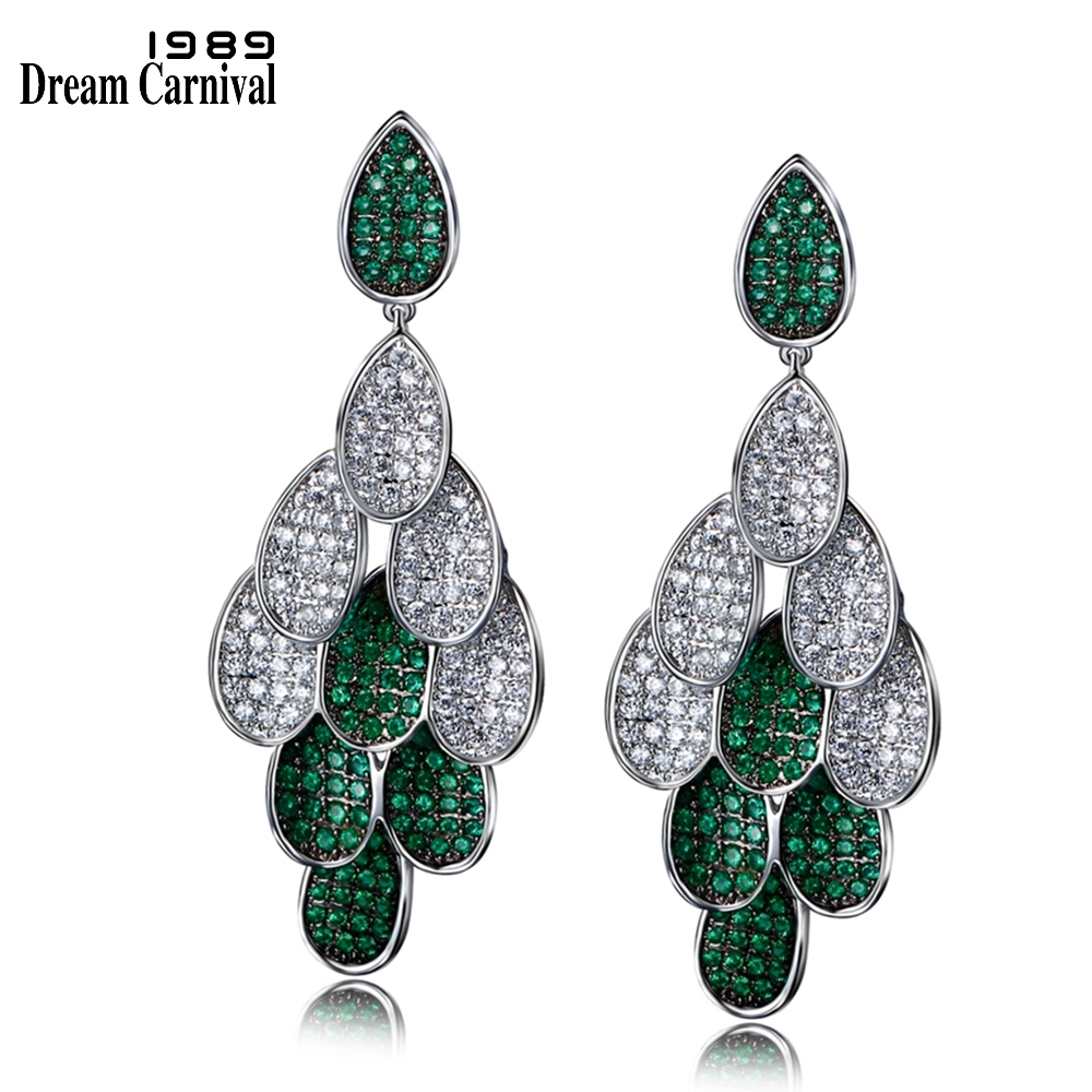 DreamCarnival 1989 Drop Dangle Earrings for Women Rhodium Gold Color Blue Green Fuchsia White CZ boucle d'oreille Party Jewelry