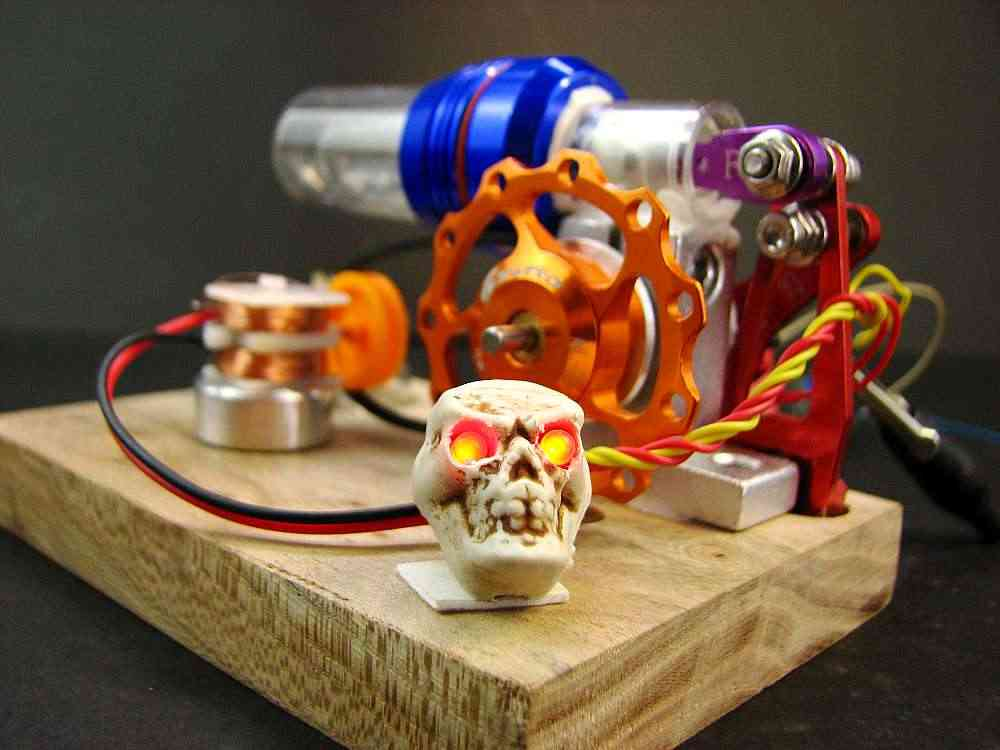 Red light Skull Stirling engine with generator External combustion engine  model science toy