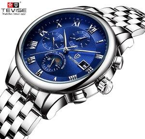 Image 2 - Herren Uhren Automatische Mechanische Uhr TEVISE Mond Phase Wasserdicht Leucht Datum Automatische Uhr Männer Junge Armbanduhren