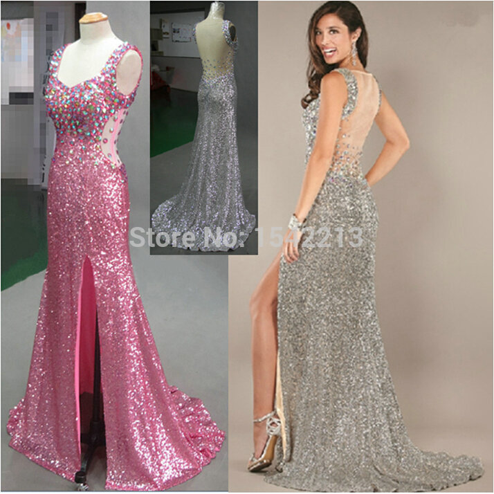 Best Quality Blingbling Crystal Dress Sexy Rude Style Prom Dresses