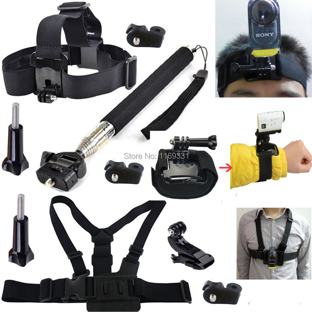 Accessory Monopod Mount Accessories Head Chest Wrist Strap Kit for Sony Action Cam HDR-AS15 AS20 AS3