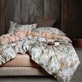 Juego de ropa de cama con estampado de plantas tropicales de algodón de 2018 egyptia para adultos 4 piezas King Queen tamaño edredón juego de sábanas fundas de almohada