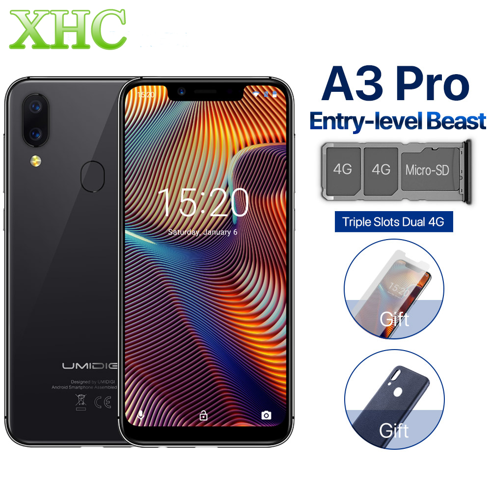 "UMIDIGI A3 Pro Global 5.7"" FullScreen Face Unlock Smartphone 3GB+32GB MT6739 Quad Core Android 8.1 12MP+5MP Dual 4G Mobile Phone"