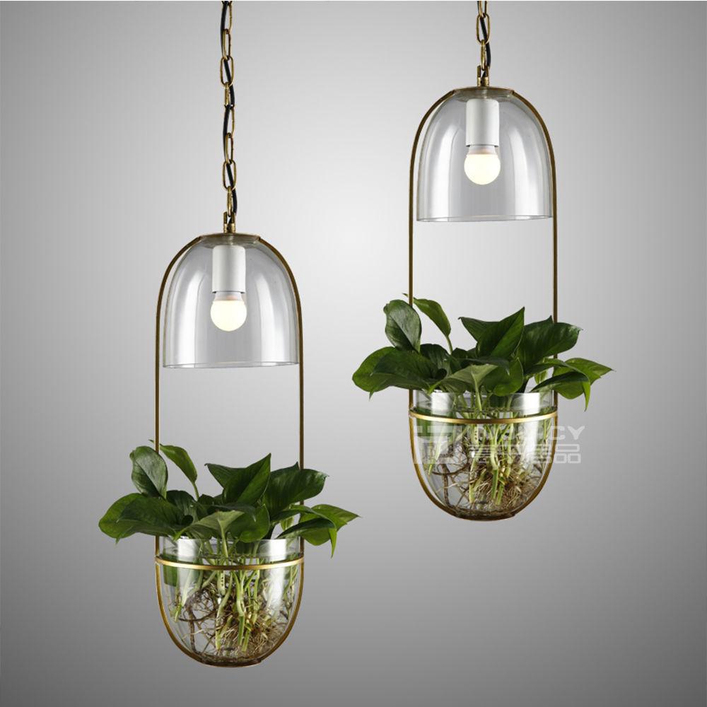 nrdico moderno de vidrio planta de e led lmpara de techo de sombra de hierro metal luces pendientes colgantes para barcafet