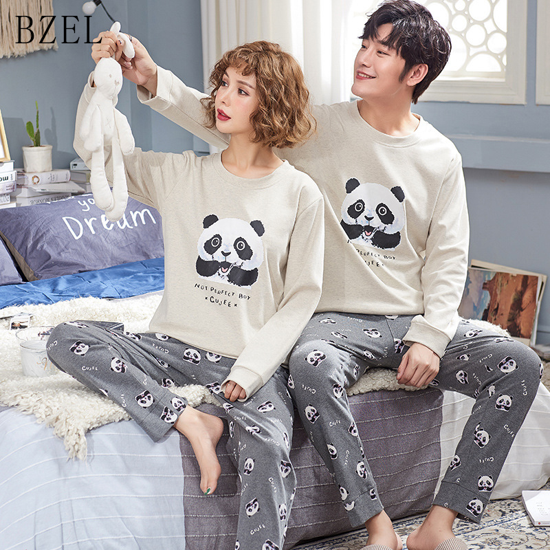 BZEL Couple   Pajama     Sets   Long Sleeve Sleepwear Cotton Underwear Panda Sleep Lounge Lovers' Clothes Pyjamas Women Casual Home Wear