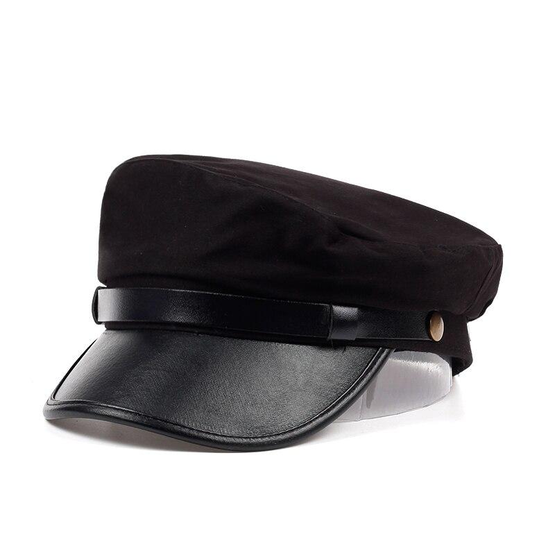 VORON unisex preto marinha plana cap chapéu dos homens das mulheres da moda  tampas boina boinas 643e807d41f