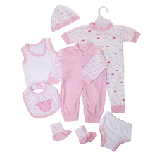 2016 Cute Newborn Infant 7 pices /lot Set Baby Kids Rompers+Panties+Socks+vest+Bibs & Burp Cloths Baby Clothing Sets