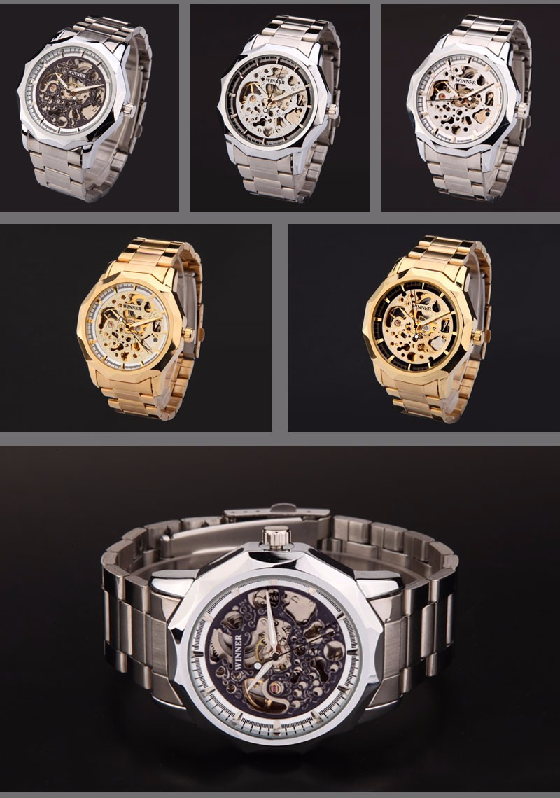 WINNER brand watches men mechanical skeleton wrist watches fashion casual automatic wind watch gold steel band relogio masculino