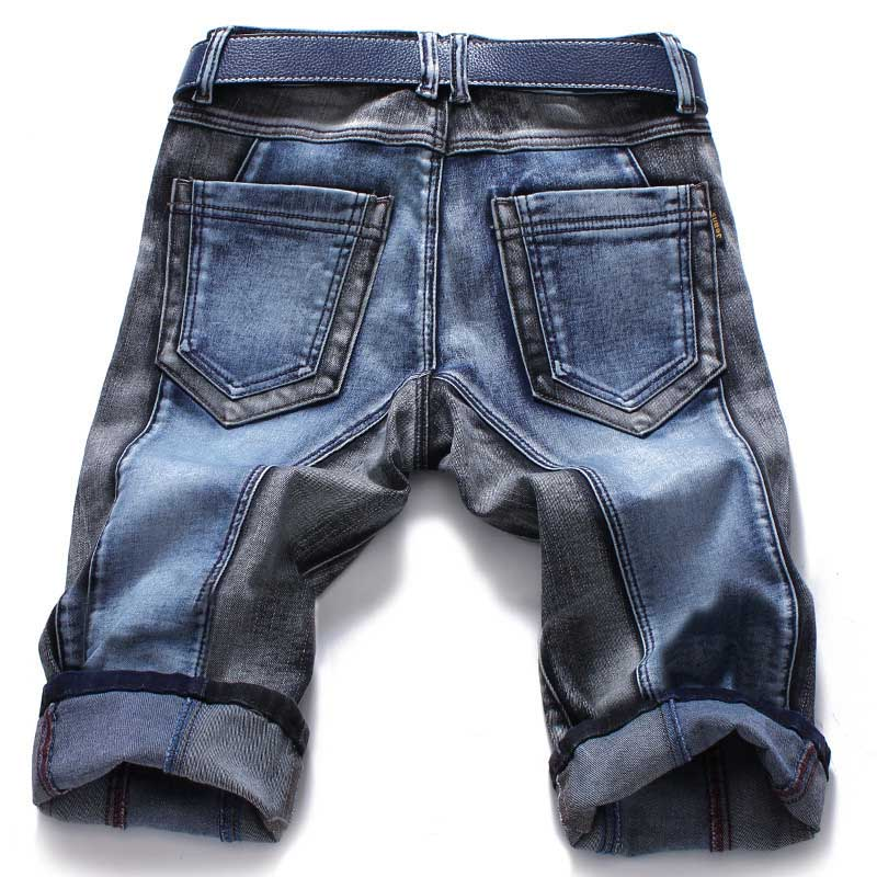 Mcikkny Fashion Men's Straight Denim Shorts Slim Fit Patchwork Jeans Shorts For Male Straight Streetwear  (3)