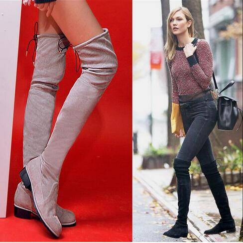 Hottest Selling Lace-Up Over The Knee Pointed Toe Flat Square Heel Suede Black Leather Long Women Booties Winter