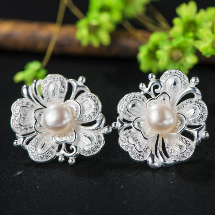 925 silver female models peony freshwater pearl earrings silk reeling process