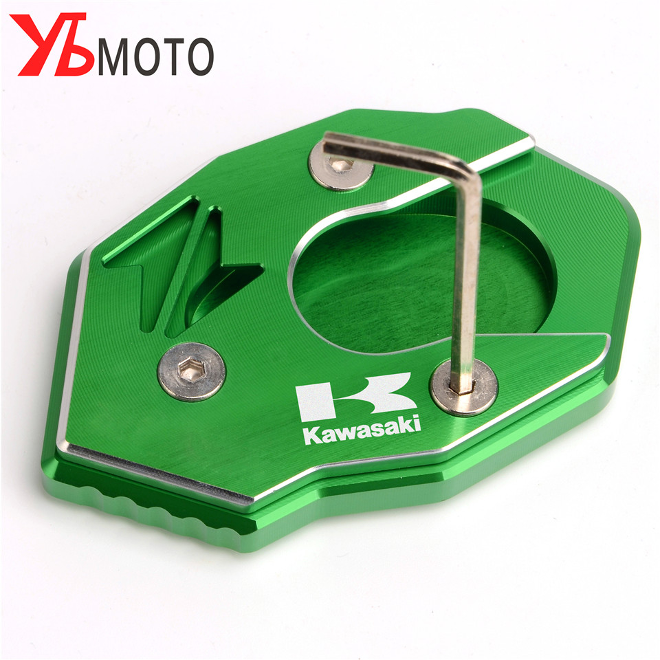 For Kawasaki Z650 Z900 Z1000 Z1000SX ER-6N ZX6R ZX10R ZX16R Motorcycle CNC Alunimun Kickstand Plate Extension Pad Stand Enlarger