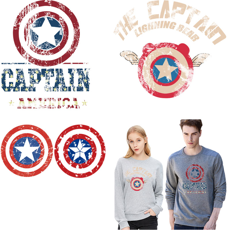 captain america iron <font><b>patches</b></font> <font><b>for</b></font> <font><b>clothing</b></font> <font><b>marvel</b></font> badge ironing stickers diy applique heat transfer super washable <font><b>patch</b></font> vetement image