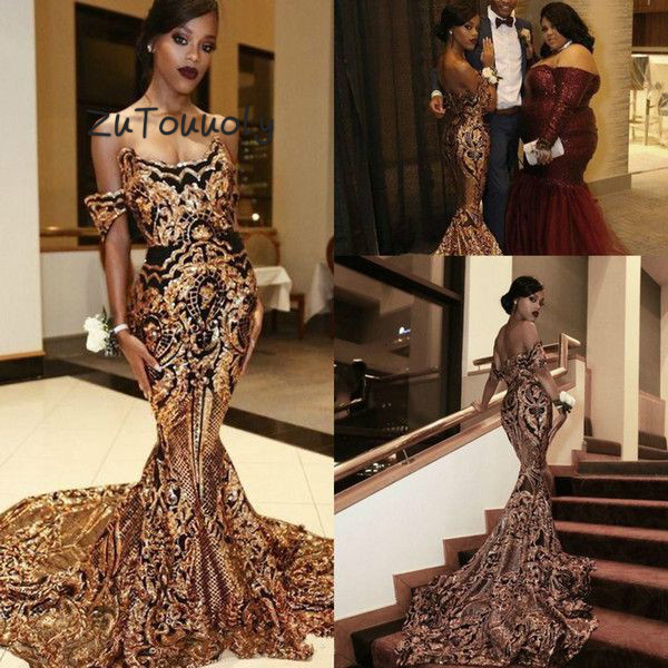 Luxury Arabic Evening Dress Elegant Mermaid Prom Dresses Gold And Black Appliques Off The Shoulder Backless Formal Party Dress