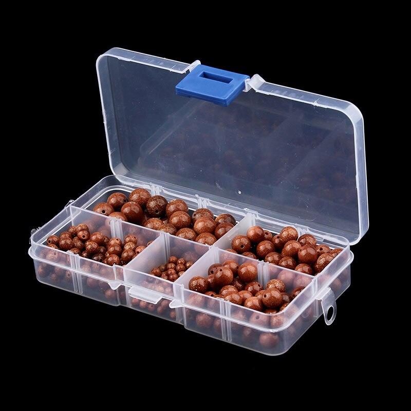 340 teile/schachtel 4/6/8/10mm Natürlichen Gold Runde Sand Stein Perlen Pick Größe 15