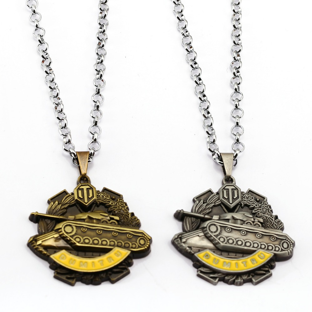 Online Game World of Tanks WOT Metal Necklace Dumitru Coliu medal Pendent necklace jewelry link chain fashion girft for man