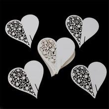 50pcs/set Wedding Table Decoration Place Cards/Wedding Party Decoration Laser Cut Heart Floral Wine Glass Place Cards