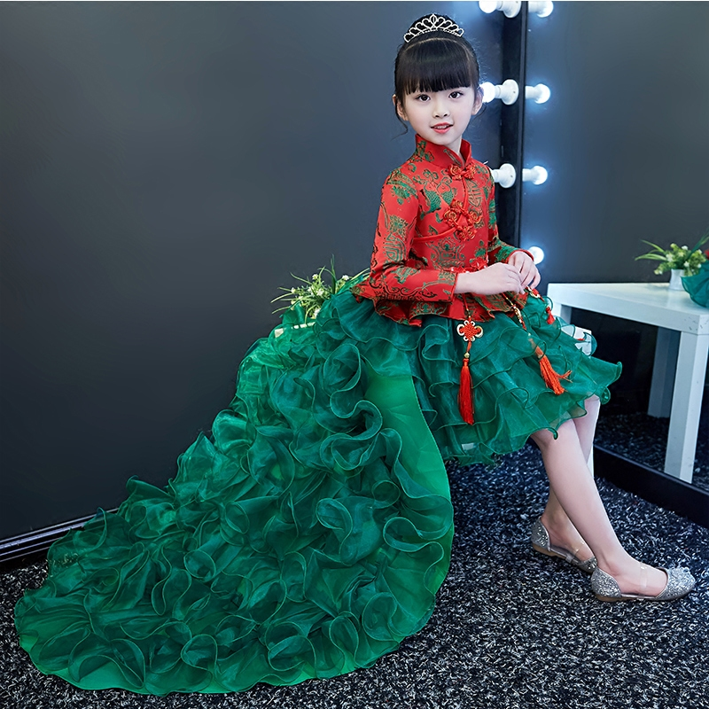 The new spring 2018 girls wirthday princess dress evening dress children model show 3-15 years girl decals tail wedding dress new the spring of 2018 women s clothing sequins lapel eagle decals gauze falbala vest dress