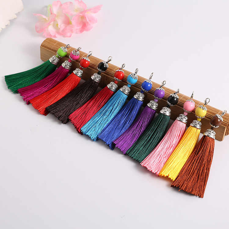 5pcs/lot 8cm Long Tassel Silk Brush Earrings Cap Accessories Tassel for Necklace Bag Car Keychain Hand Made Jewelry Findings