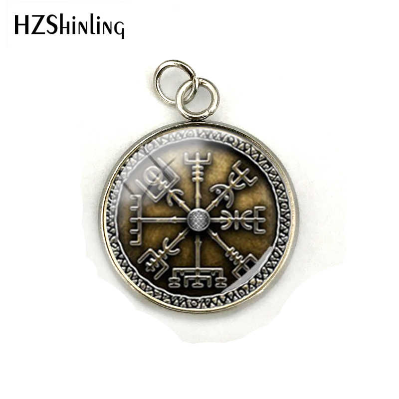 1-Vegvisir Viking kompas szklana kopuła Charms Viking kompas biżuteria wisiorek szkło obraz ze stali nierdzewnej szklany naszyjnik wisiorki