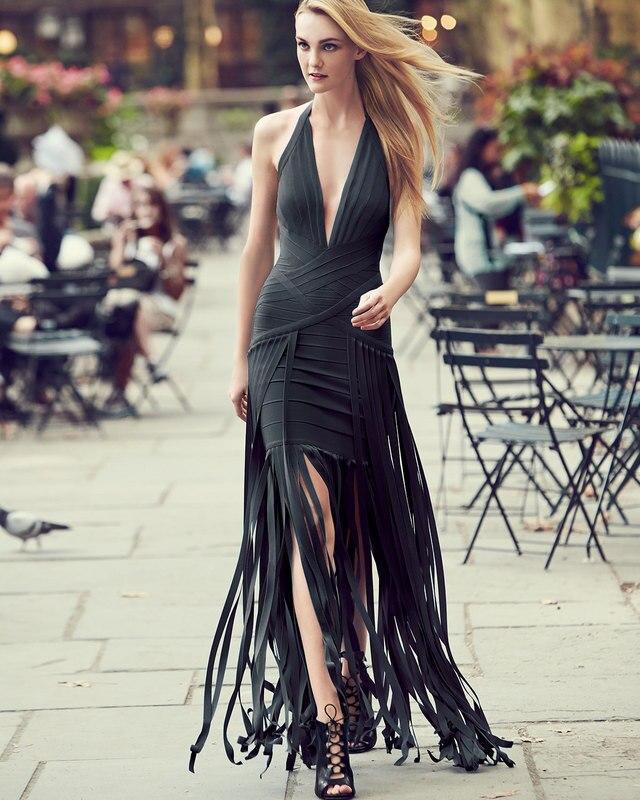 new Long dress Black And sky blue Tassel Deep V Neck Sexy Nightclubs maxi dress Bandage